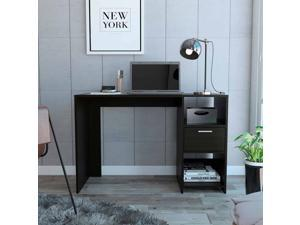 FM FURNITURE Arlington Computer Desk, For Home Office And Gaming Desk, With 1 Drawer, 2 shelves, Black Wengue Finish, Particle Board, Wood Tecture, Easy To Assamble.