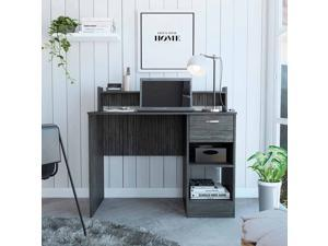 FM FURNITURE Charlotte Computer Desk, For An Office Or Home Office, With Open 2 Shelves, And 1 Drawer, Smokey Oak Finish, Particle Board, Wood Texture, Easy To Assamble.