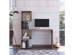 FM FURNITURE Lincoln Computer desk, For An Office Or Home Office, With Bookcase, And  4 Shelves, Modern, White Finish, Particle Board, Soft Pore Texture, Easy To Assamble.