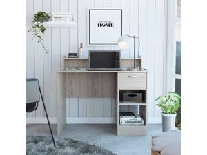 FM FURNITURE Charlotte Computer Desk, For An Office Or Home Office, With Open 2 Shelves, And 1 Drawer, Light Gray Finish, Particle Board, Wood Texture, Easy To Assamble.