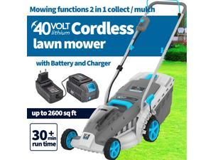 """Redback 18Inch 40V Cordless Lawn Mower, Brushless Battery Lawn Mower, 5 Adjustable Heights (1""""-3"""") & Collect or Mulch Rotary Mower with Battery and Charger"""