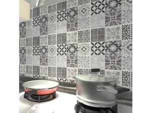 "10 Sheets Peel and Stick Backsplash Tiles for Kitchen Self Adhesive Wall Gray Talavera Mexican Tiles(12""x12"")"