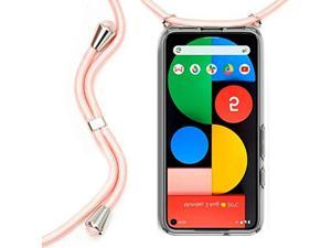 Crossbody Case For Google Pixel 4A, Transparent Soft Tpu Phone Cover With Adjustable Neck Cord Lanyard Strap Anti-Fall Necklace Clear Case Compatible With Google Pixel 4A 5.81 Inch - Pink