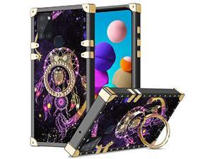 Case For Galaxy A21s, Kickstand Ring Stand Luxury Retro Square Case For Women Girls Soft Tpu Full Body Shockproof Protective Cover Heavy Duty Metal Corner Case For Samsung Galaxy A21s Owl