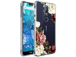 Ueokeird Nokia 7.1 Case, Nokia 7.1 Case With Flowers, Slim Shockproof Clear Floral Pattern Soft Flexible Tpu Back Phone Protective Cover For Nokia 7.1 (2018 Release) (Blossom Flower)
