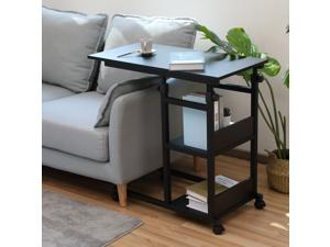Bonzy Home Side Table with Wheels, Height Adjustable Snack end Table with Storage Shelf, Under The Sofa Overbed Table for Sofa Couch, Living Room, Bedroom & Small Spaces