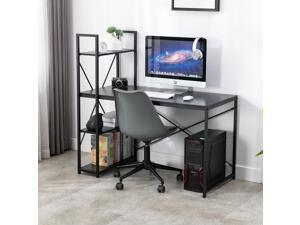 """Bonzy Home Study Computer Desk 47"""" Home Office Student Writing Small Desk, Modern Simple Style PC Table Coffee Table for Small Spaces Black Metal Frame"""