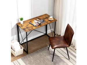 """Bonzy Home Folable Study Computer Desk 40"""" Home Office Student Writing Small Desk, Modern Simple Style PC Table Coffee Table for Small Spaces Black Metal"""