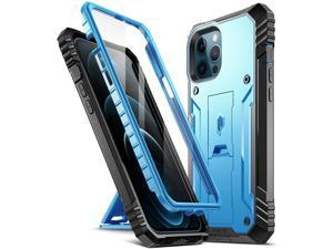 Poetic Revolution Series for iPhone 12 Pro Max 6.7 inch Case, Full-Body Rugged Dual-Layer Shockproof Protective Cover with Kickstand and Built-in-Screen Protector, Blue