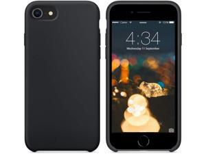 """SURPHY Silicone Case Compatible with iPhone SE 2020 Case iPhone 8 Case iPhone 7 Case, Liquid Silicone Phone Case (with Microfiber Lining) for iPhone 7 iPhone 8 iPhone SE 2nd 4.7"""" (Black)"""