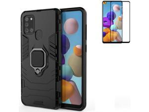 for Samsung Galaxy A21S Case with Glass Screen Protector,Hybrid Heavy Duty Shockproof Armor Dual Layer Protection Defender Back Case Cover for Samsung Galaxy A21S with Car mountand Ring Kickstand (Bla