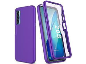 PUJUE for TCL 20S Case with Built-in Screen Protector, Full Body Shockproof Phone Case, [Hard Front Cover + Soft Back Cover] Slim Rugged Protective Cover Case for TCL 20S (Purple)