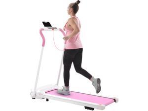 FYC Treadmill Folding Treadmill for Home Portable Electric Motorized Treadmill Running Exercise Machine Compact Treadmill for Home Gym Fitness Workout Walking, No Installation Required (White&Pink)