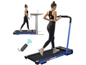 FYC 2 in 1 Folding Treadmill for Home - Under Desk 2.5HP Electric Treadmill Workout Foldable Portable Compact Running Machine w/Remote Control 12 Programs for Exercise, Installation Free (Blue)