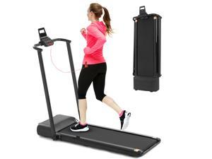 FYC Folding Treadmill Electric Exercise Compact Running Machine with LED Display & Wheels & Phone Holder, Easy to Move, Installation-Free Portable Walking Jogging for Home Office Use (JK30A-2)