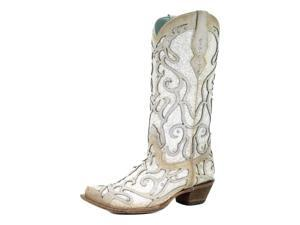 """Corral Western Boots Womens 13"""" Shaft Crystal Snip Toe 9 M White C3434"""
