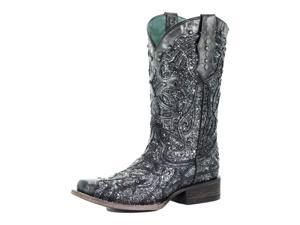 Corral Western Boot Womens Square Glitter Inlay 8.5 M Black Gray C3404