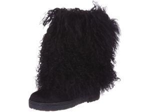 "Bearpaw Casual Boots Womens Boetis Curly Lamb Fur 11"" 12 M Black 1294W"