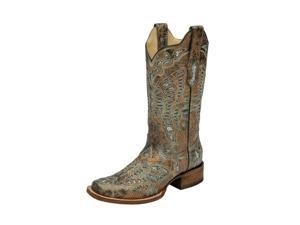 Corral Western Boots Womens Butterfly Glitter Inlay 9 M Taupe A2955