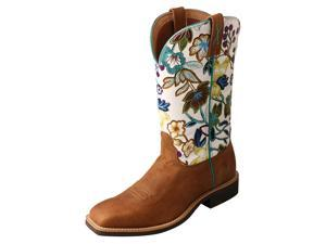 Twisted X Western Boots Womens Top Hand 6.5 B Tan Floral WTH0017