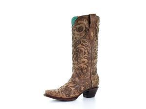 """Corral Western Boots Womens Overlay Studs 13"""" 9 M Cognac A3567"""