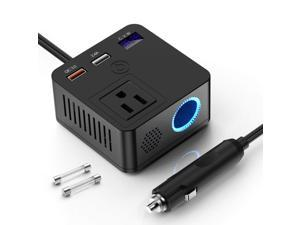 150W Car Power Inverter DC 12V To 110V AC Converter With Dual USB Charging QC3.0 + 5V 2.4A USB Car Outlet Adapter With Switch,Current LCD Screen And Cigarette Lighter Socket