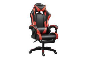GIVENUSMYF Gaming chairs, adult reclining adjustable rotating leather chairs, high-back tables and chairs, headrest and massage waist pads available in black and red, black and white and black