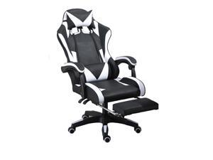 GIVENUSMYFGaming chairs, adult reclining adjustable rotating leather chairs, high-back tables and chairs, headrest and massage waist padsblack and white and black White