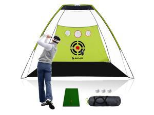 SAPLIZE Golf Practice Net with Hitting Mat, High Impact Net, 10x7ft Large Size with Chipping Practice Holes, Golf Hitting net, Driving Net, Training Net, Available for Outdoor/Indoor/Backyard