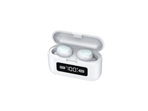 Wireless Earbuds, Bluetooth 5.0 Wireless Bluetooth Earbuds with 1200mAh Rechargeable Case, 220H Playtime Hi-Fi Stereo Sound Earbuds, Built-in Mic IPX7 Waterproof Earphones for Sports, Gym, White