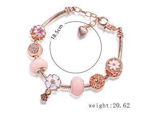 Pink Flower Beaded Bracelet Female Royal Gemstone Bracelet Student Birthday Gift