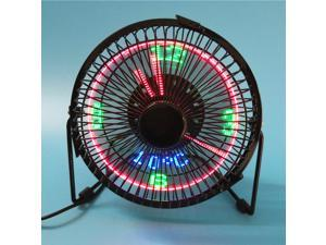 Temperature and time 4 inch wrought iron USB small fan, portable led lighted mini clock fan