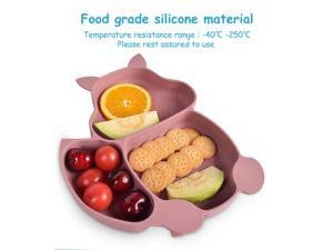 7PCS/Set Baby Plates Bowl Set Food Grade Silicone Kitchenware Suction Children's Tableware Silicone Compartment Baby Dishes