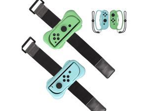 PowerLead Wrist Bands for Just Dance 2021 2020 Switch, Adjustable Elastic Hand Arm Strap Controller Accessories for Nintendo Switch Dance Game - 2 Pack (Come with Fitness Boxing Hand Grips)