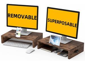 WESTREE Computer Monitor Stand Removable Superposable 2 Tier Wood Monitor Stand Desk Tabletop Screen Stand for Pc, Computer, TV, Printer