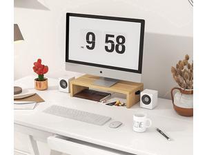 Wood Monitor Riser Stand 15.4 Inche Small Monitor Riser with Cable Clip Ergonomic Desktop Computer Stand Desk Risers for Monitor Desk Printer TV Riser
