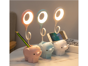 Creative elephant type LED desk lamp rechargeable plug-in dual-use three-color temperature adjustable learning desk lamp