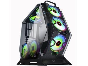 KEDIERS Computer Case ATX Mid-Tower PC Gaming Case Open Tower Case - USB3.0 - Remote Control - 2 Tempered Glass - Cooling System - Airflow - Cable Management C-570