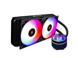 KEDIERS 240mm AIO RGB CPU Liquid Cooler Rotating Infinity Mirror Design RGB Connector 120mm Radiator RGB Fans Motherboard Synchronization and Intelligent Temperature Control