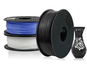 3 Pack PLA 3D Printer Filament 1.75mm, PLA Filament Bundl, Dimensional Accuracy +/- 0.02mm, 1kg Spool(2.2lbs) x 3, Fit Most FDM Printer(black+blue+white - 3 Pack)