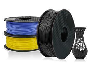 3 Pack PLA 3D Printer Filament 1.75mm, PLA Filament Bundl, Dimensional Accuracy +/- 0.02mm, 1kg Spool(2.2lbs) x 3, Fit Most FDM Printer(black+blue+yellow- 3 Pack)
