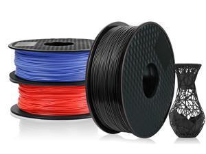 3 Pack PLA 3D Printer Filament 1.75mm, PLA Filament Bundl, Dimensional Accuracy +/- 0.02mm, 1kg Spool(2.2lbs) x 3, Fit Most FDM Printer(black+blue+red - 3 Pack)