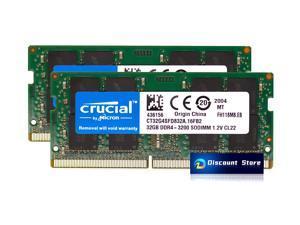 Crucial 64GB(2X32GB) DDR4-3200 RAM PC-25600 SODIMM Notebook/Laptop Memory (CT32G4SFD832A.16FB2) NEW