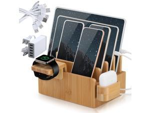 Bamboo Charging Station Organizer, Wood Desktop Docking Charging Stand Compatible with Airpods, iPhone, iPad, Apple Watch (Included 5 Port USB Charger, 6 Charge Sync Cables)