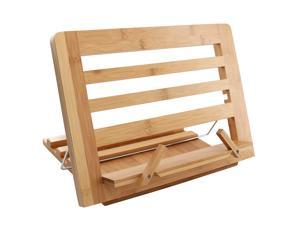 BambuMate Bamboo Cook Book Stand, Adjustable Book Holder Tray and Page Paper Clips, Portable Station for Tablets, Cell Phones, Laptop Stands