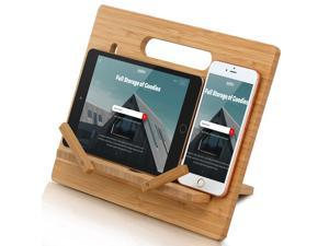 """BambuMate Bamboo Cell Phone Tablet Stand Large, Adjustable Desktop Holder Compatible with Kindle, Tablet , Smartphones, Book Stand for Textbook, Recipe, Magazine (Support to 17"""" Devices)"""