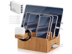 Bamboo Charging Station for Multiple Devices with 5 Port USB Charger, 5 Cables and Smart Watch & Earbuds Stand, Upgrade Desk Docking Station Organizer for Cell Phone, Tablet and More