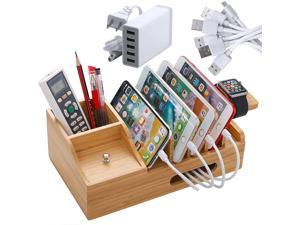 Bamboo USB Charging Stations for Multiple Devices with 5 Port USB Charger, 5 Charge Cable and Smart Watch Stand, Wood Desktop Dock Stations Electronic Organizer for Cell Phone, Tablet, Watch, Office