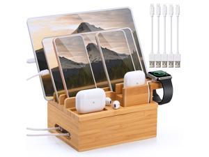 Beebo Beabo Bamboo Charging Station for Multiple Devices, Upgrade Desk Station Organizer for Phone Tablet Smart Watch Holder Earbuds Dock (Includes 5 Cables BUT NO Power Supply Charger)