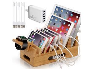 Bamboo Charging Station for Multiple Device with 5 Port USB Charger, Watch Stand, 5 x Charge Cable, Wood Docking Stand Electronic Organizer for Multiple Devices, Phones, Tablets, Laptop and More